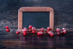 Chalk boards and Christmas decoration Stock Photos