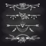Chalk boho style arrow dividers royalty free illustration