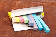 Chalk in box Stock Images