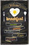 Chalk breakfast menu. stock illustration