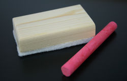 Chalk with brush eraser Stock Images