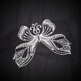 Chalk butterfly on chalkboard blackboard. Ornamental round lace Stock Image
