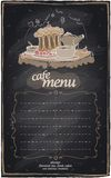 Chalk cafe menu with cake. Stock Image