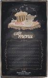 Chalk cafe menu with cake. Stock Image