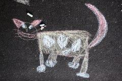 Chalk cat Stock Photo
