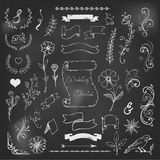 Chalk Catchwords, ribbons, ampersands design Stock Photos
