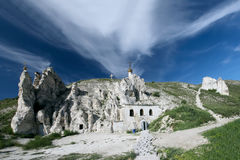 Chalk cave monastery in Divnogorie, Russia Stock Images
