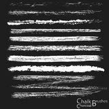 Chalk and charcoal. Set of chalk strokes on a blackboard, chalk and charcoal pastel brushes. Vector Stock Image