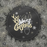 Chalk Christmas coniferous frame on blackboard background. Pine branches and cones. Vector illustration. Hand-written Merry Christmas lettering Royalty Free Stock Photos