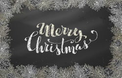 Chalk Christmas horizontal frame of branches with pine cones. Vector festive blackboard background. Merry Christmas lettering Royalty Free Stock Image