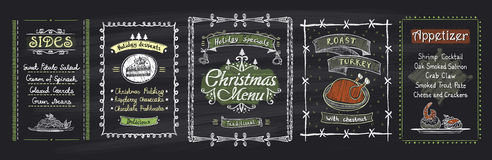 Chalk Christmas menu blackboard designs set. Vector hand drawn illustration with holidays menu. Desserts, sides, main dish, appetizer Royalty Free Stock Photography