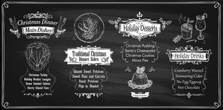 Chalk Christmas menu chalkboards design, holiday menu - main dishes, sides, desserts and drinks Stock Photos