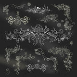 Chalk Christmas page dividers and decorations  Royalty Free Stock Photo
