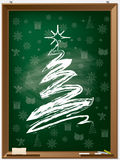 Chalk christmas tree on chalkboard Stock Image