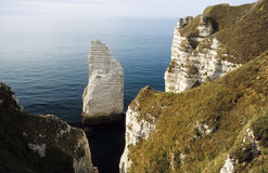 Chalk cliff of Falaise d'Aval Stock Photo