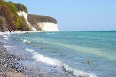 Chalk cliff rocks of Rugen isle at Sassnitz (Germany).  royalty free stock image