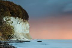Chalk cliffs in autumn for sunrise royalty free stock image