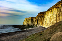 The chalk cliffs beneath Castle Hill, Newhaven Sussex. The cliffs beneath Castle Hill, Newhaven, with Palaeogene sediments resting unconformably on the Upper Stock Image