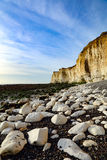 The chalk cliffs beneath Castle Hill, Newhaven Sussex. The cliffs beneath Castle Hill, Newhaven, with Palaeogene sediments resting unconformably on the Upper Stock Images