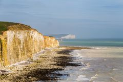 Friars Bay, East Sussex, UK. Chalk cliffs and coastline at Friars Bay, Peacehaven, near Brighton, East Sussex, England, UK royalty free stock images