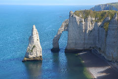 Chalk cliffs at Cote d'Albatre. Etretat Royalty Free Stock Photos