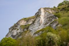 Chalk cliffs at Les Andelys in Normandy, France royalty free stock photo