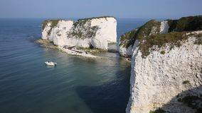 Chalk cliffs Old Harry Rocks Isle of Purbeck in Dorset southern England UK with sound stock video