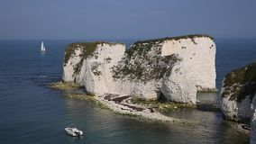 Chalk cliffs Old Harry Rocks Isle of Purbeck in Dorset southern England UK stock video footage