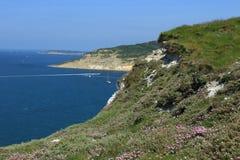 Chalk cliffs overlooking Alum Bay Stock Photos
