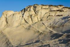 Chalk cliffs in Sarakiniko, Milos island, Cyclades, Greece Stock Images