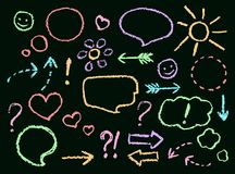 Chalk or crayon hand drawing funny doodle speech bubbles, arrows, heart shape, smile, sign, symbol set on chalkboard. stock illustration