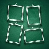 Chalk cute photo frames. Abstract picture frame borders for wedding invitation isolated on blackboard vector set. Illustration of chalk frame for wedding or Royalty Free Stock Photos