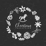 Chalk decorative christmas greeting wreath with hobbyhorse. Chalk decorative greeting wreath with hobbyhorse. Christmas collection. Hand drawn illustration Royalty Free Stock Images
