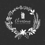 Chalk decorative christmas greeting wreath with house. Chalk decorative greeting wreath with house. Christmas collection. Hand drawn illustration. Design Royalty Free Stock Image