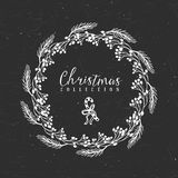 Chalk decorative christmas greeting wreath with lollipop. Chalk decorative greeting wreath with lollipop. Christmas collection. Hand drawn illustration. Design Stock Image