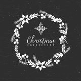 Chalk decorative christmas greeting wreath with snowflake. Chalk decorative greeting wreath with snowflake. Christmas collection. Hand drawn illustration Stock Photography