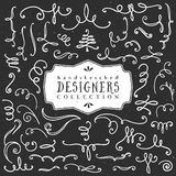Chalk decorative curls and swirls. Designers collection. Stock Images