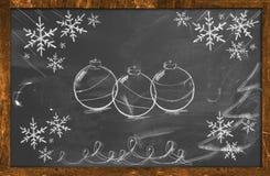 Chalk Decorative Draw Christmas ornament. Background Stock Photography