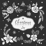 Chalk decorative greeting bouquets. Christmas collection. Royalty Free Stock Image