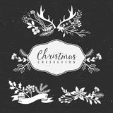 Chalk decorative greeting bouquets. Christmas collection. Hand drawn illustration. Design elements Royalty Free Stock Image