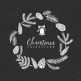 Chalk decorative greeting wreath with bell. Christmas collection. Hand drawn illustration. Design elements Stock Image