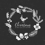 Chalk decorative greeting wreath with bird. Christmas collection. Hand drawn illustration. Design elements Royalty Free Stock Images