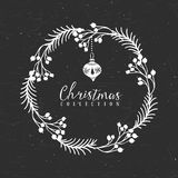 Chalk decorative greeting wreath with Christmas tree toy. Christmas collection. Hand drawn illustration. Design elements Royalty Free Stock Photography
