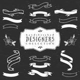 Chalk decorative ribbon banners. Designers collection. Stock Images