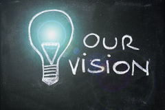 Chalk design with lightbulb, business vision. Lighbulb and business vision chalk design on blackboard stock photos
