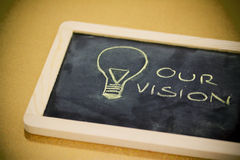 Chalk design with lightbulb, business vision Royalty Free Stock Photo
