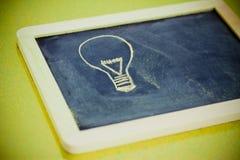 Chalk design with lightbulb, business vision Stock Photos
