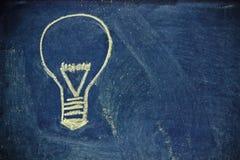 Chalk design with lightbulb, business vision. Lighbulb design on blackboard, metaphor of innovation Stock Image