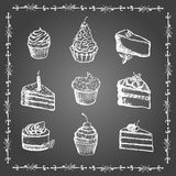 Chalk desserts and bakery products set Stock Image