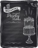 Chalk desserts party menu. Chalk desserts party menu, chalkboard background stock illustration